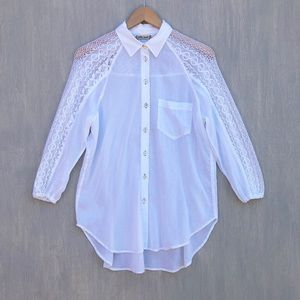 Anthro Holding Horses white lace button down S